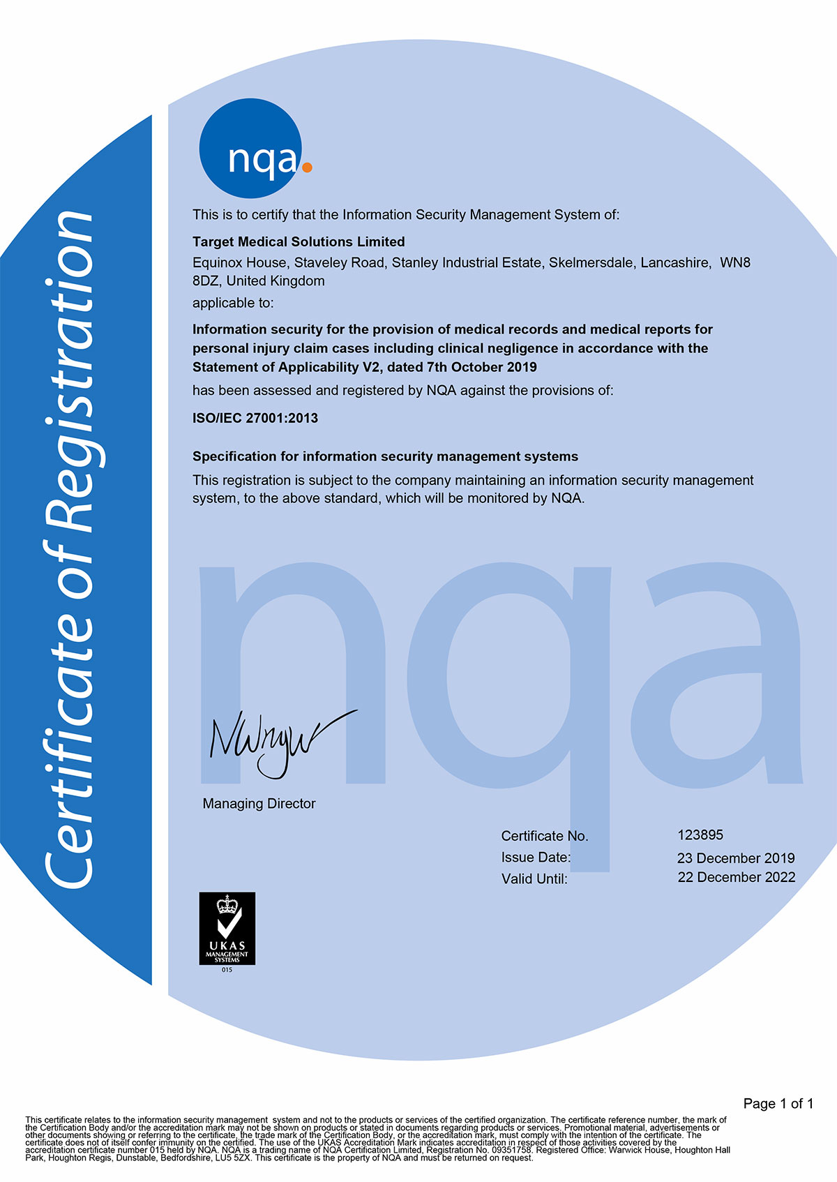 NQA ISO 27001 certificate for Target Medical in 2020