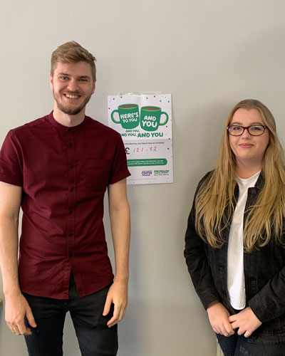 Charlotte and Dean of Target Medical for Macmillan Coffee Morning 2019